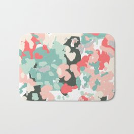 Ioro - painted abstract coral minimal mint teal bright southern charleston decor colors Bath Mat
