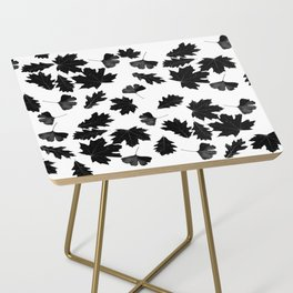 Falling Autumn Leaves in Black and White Side Table