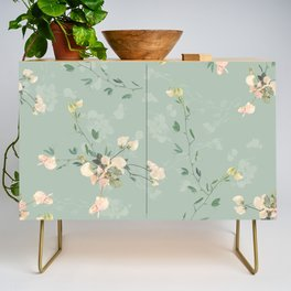 Sweet pea botanical pattern in green Credenza