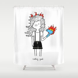 On Fire by Sarah Pinc Shower Curtain