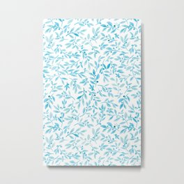 Leaves and Berries | Turquoise Palette Metal Print
