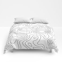Black and White Topography Art Print Comforters