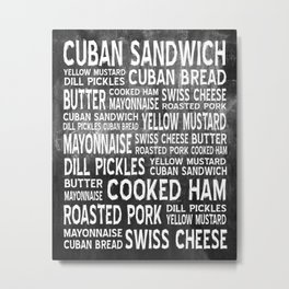 Cuban Sandwich Word Food Art Poster (Black) Metal Print