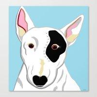 bull terrier Canvas Prints featuring Bull Terrier by EloiseArt