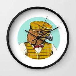Hawk English Outdoorsman Head Circle Drawing Wall Clock