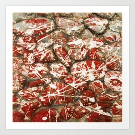 Red Paint Abstract Drip Stones AKA Pollock Art Print