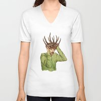 antlers V-neck T-shirts featuring Antlers by caxcma