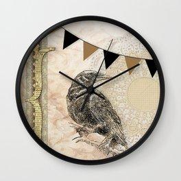 Crow, Brown Banner, Doily, Digital Design Wall Clock