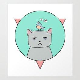 Depressive cat Art Print