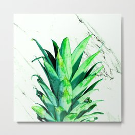 Pineapple Top Black and White Marble Metal Print