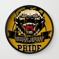 hufflepuff Wall Clocks featuring Hufflepuff Pride by Geekleetist