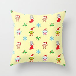 Teddy, mouse elf and snowman Christmas pattern Throw Pillow