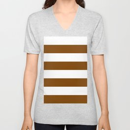 Wide Horizontal Stripes - White and Chocolate Brown Unisex V-Neck