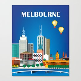 Melbourne, Australia - Skyline Illustration by Loose Petals Canvas Print
