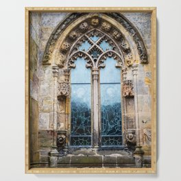 Stained glass window of Rosslyn Chapel outside Edinburgh, Scotland Serving Tray