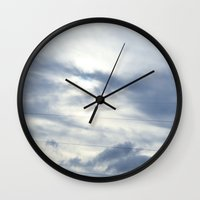 telephone Wall Clocks featuring telephone lines by EnglishRose23