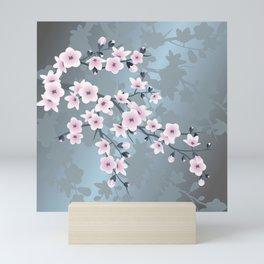 Dusky Pink Grayish Blue Cherry Blossom Mini Art Print