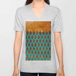 Copper Metal Foil and Aqua Mermaid Scales- Abstract glitter pattern Unisex V-Neck