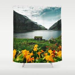 cottage in saksun faroe islands Shower Curtain