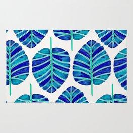 Elephant Ear Alocasia – Blue & Turquoise Palette Rug