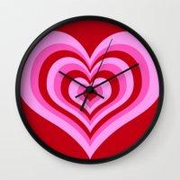 powerpuff girls Wall Clocks featuring powerpuff hearts by tukylampkin
