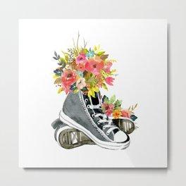 Floral Sneakers Metal Print