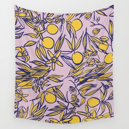 Orange Blossoms on Lavender Wall Tapestry