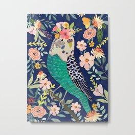 Parakeet with Floral Crown Metal Print