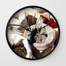 Exotic Indian Spices In Small Canvas Sacks Wall Clock