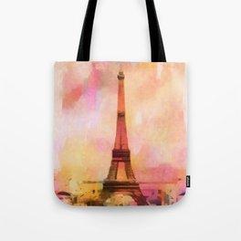 Paris Eifel Tower Abstract Art Illustration pink orange yellow Tote Bag