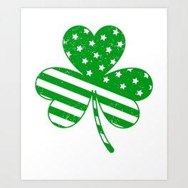 3a4067452ae6 Irish American Flag Vintage Shamrock design Saint Patrick D Art Print