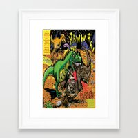 hentai Framed Art Prints featuring Space Chick & Nympho: Vampire Warrior Party Girl Comix #1- Tyrano the Dinosaur-God  in Comic Page  by Tex Watt
