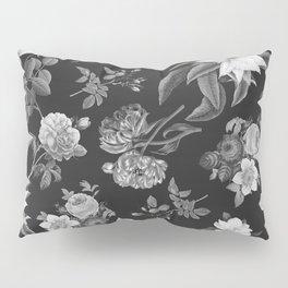 Vintage flowers on black Pillow Sham