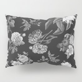 Vintage flowers on black Pillow Sham