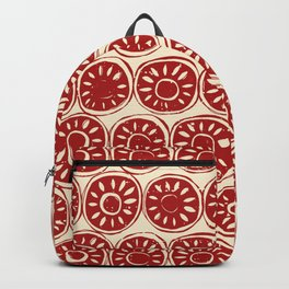 flower block red ivory Backpack