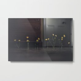 Flowers and Floorboards Metal Print