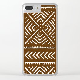 Line Mud Cloth // Brown Clear iPhone Case