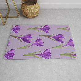 Painted crocus spring flower pattern Rug