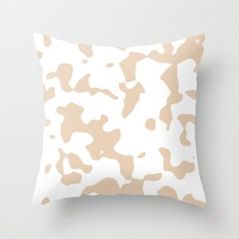 Large Spots - White and Pastel Brown Throw Pillow