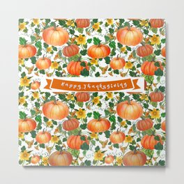 Thanksgiving Pumpkin Greetings Metal Print