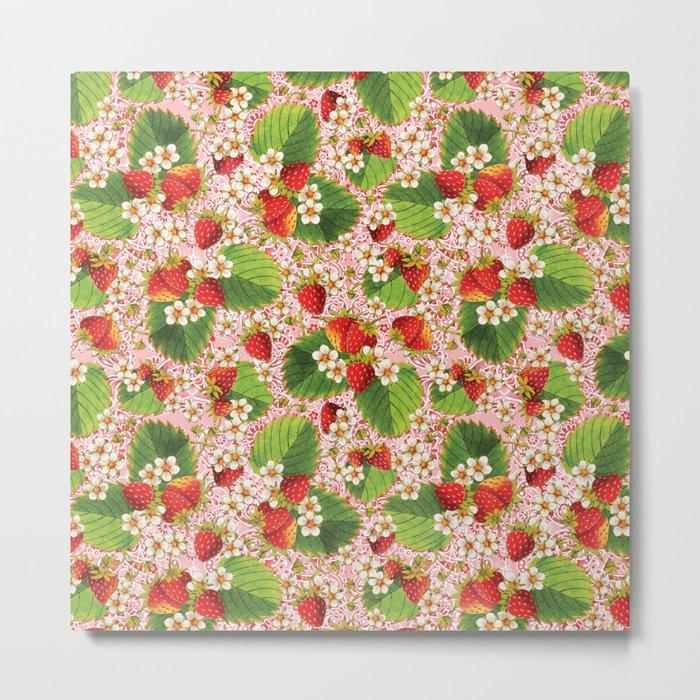 Pink Paisley Strawberries Metal Print