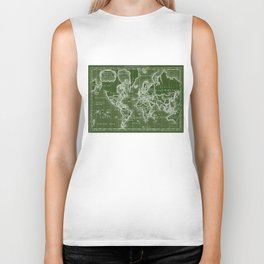 World Map (1766) Green & White Biker Tank
