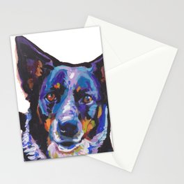 Australian Cattle Dog Portrait blue heeler colorful Pop Art Painting by LEA Stationery Cards