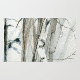 Winter Birch Trees Woodland Watercolor Original Art Print Rug