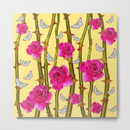 WHITE BUTTERFLIES & CERISE PINK ROSE THORN CANES YELLOW Metal Print