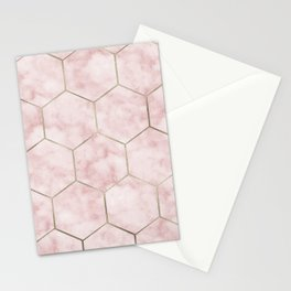 Cloudy pink marble hexagons Stationery Cards