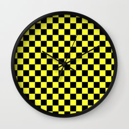 Black and Electric Yellow Checkerboard Wall Clock