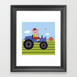 Pig on Tractor Framed Art Print