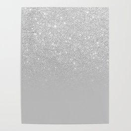 Trendy modern silver ombre grey color block Poster
