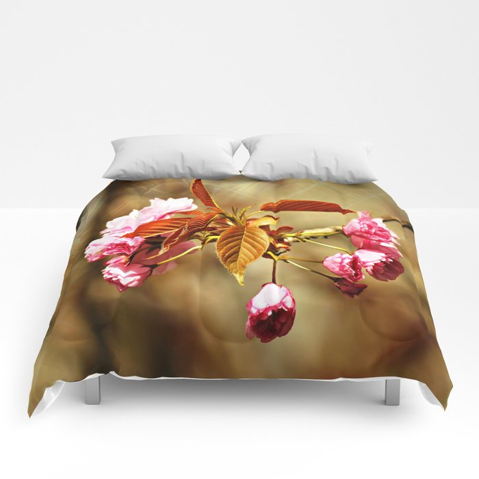 Vintage Cherry Blossoms Comforters